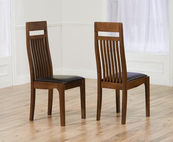 Monaco Dark Solid Oak Brown Dining Chairs