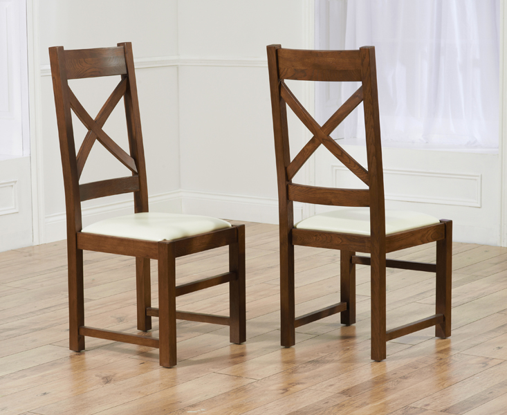 Cheshire Dark Solid Oak and Cream Leather Dining Chairs