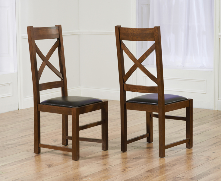 Cheshire Dark Solid Oak and Brown Leather Dining Chairs