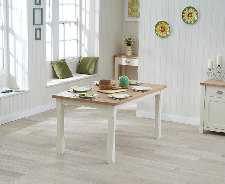 Somerset 130cm Oak and Cream Dining Table