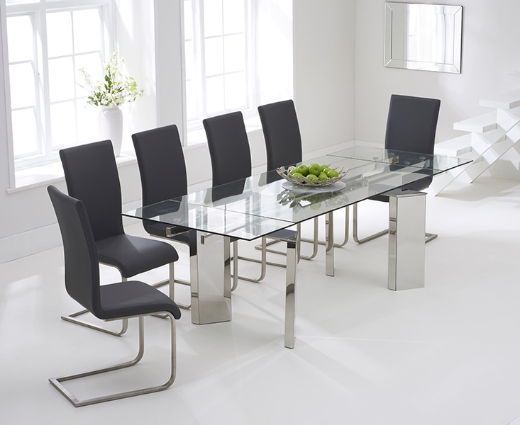 Mozart 160cm Extending Glass Dining Table with Charcoal Grey Malaga Chairs