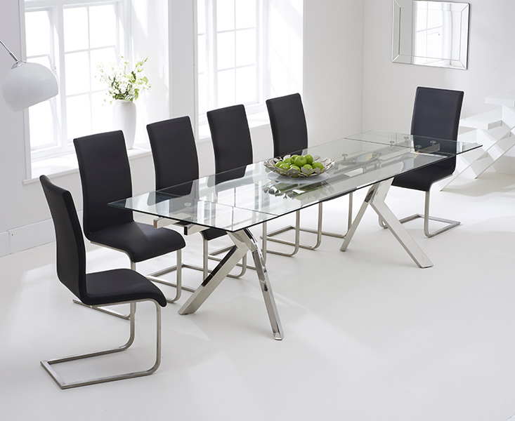 Puccini 200cm Glass Extending Dining Table with Malaga Chairs