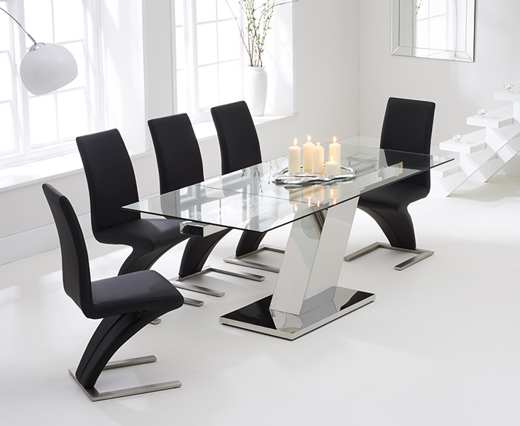 Luna 140cm Extending Glass Dining Table with Black Hampstead Z Chairs