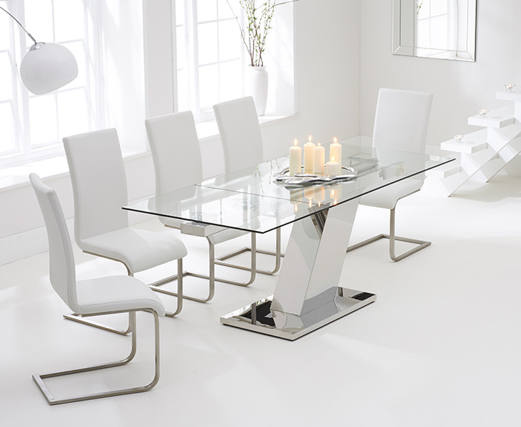Luna 140cm Glass Extending Dining Table with Malaga Chairs