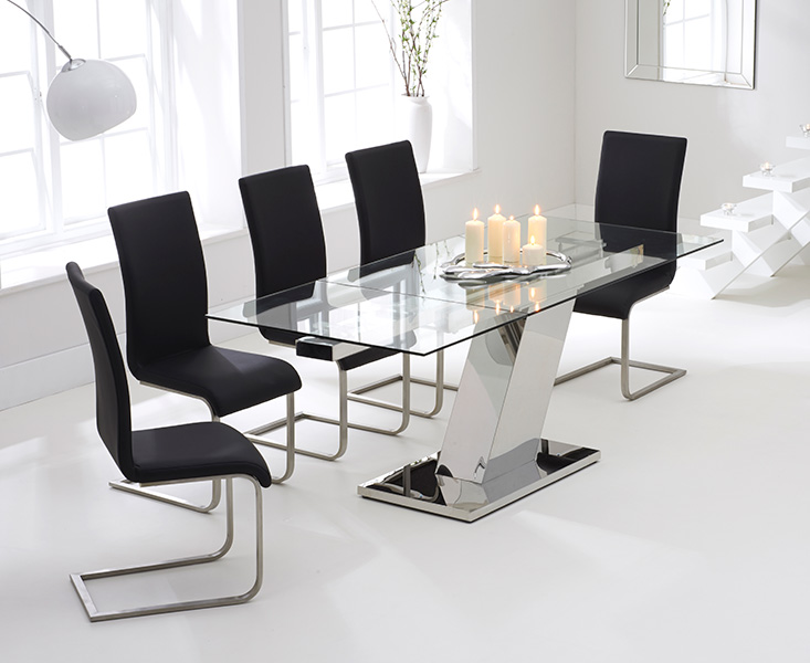 Luna 140cm Glass Extending Dining Table with Black Malaga Chairs