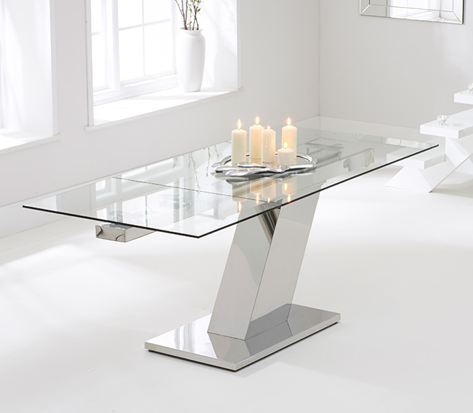 Luna 140cm Extending Glass Dining Table