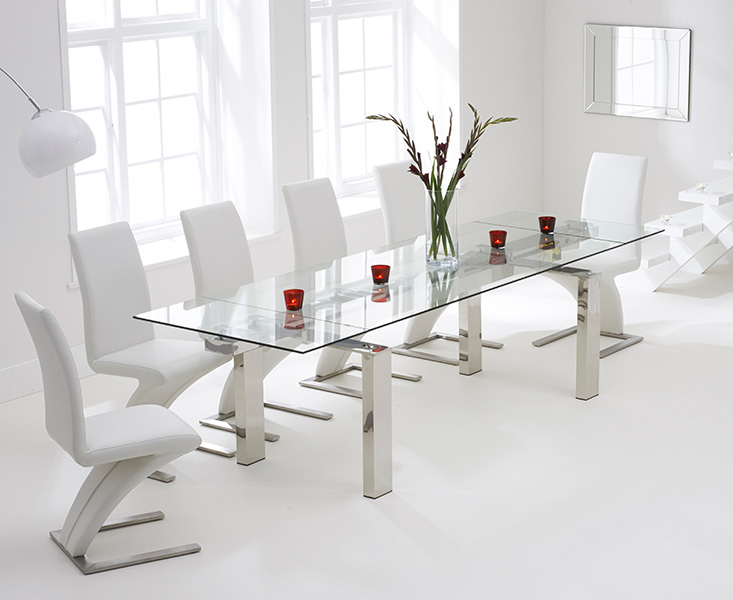 Lazio 200cm Extending Glass Dining Table with Hampstead Z Chairs