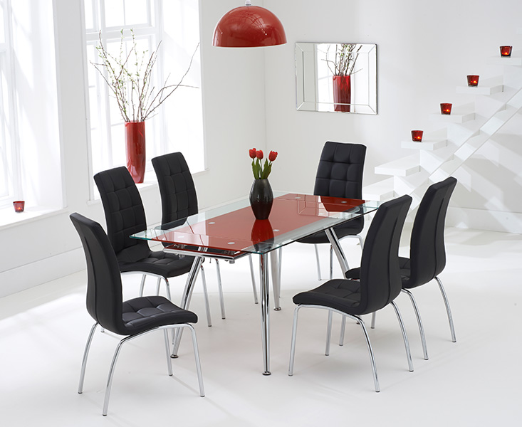 Ritz Red Extending Glass Dining Table with Black Calgary Chairs