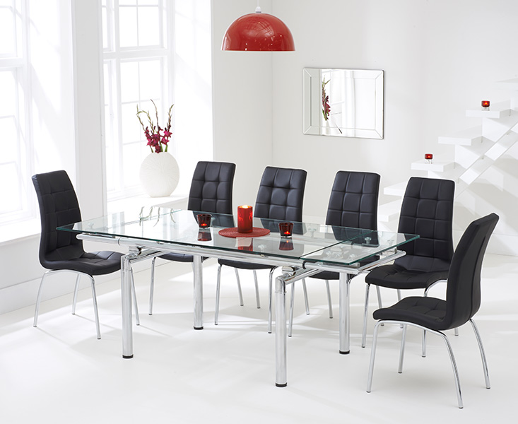 Calgary 140cm Extending Glass Dining Table with Black Calgary Chairs
