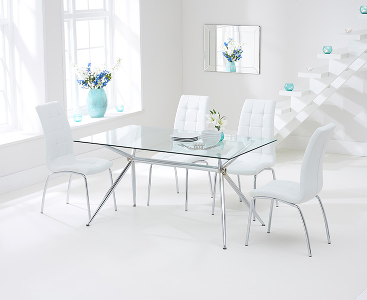 Savelli 150cm Glass Dining Table with White Calgary Chairs