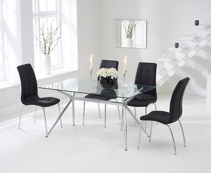 Savelli 150cm Glass Dining Table with Black Calgary Chairs