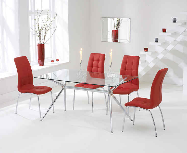 Savelli 150cm Glass Dining Table with Calgary Chairs