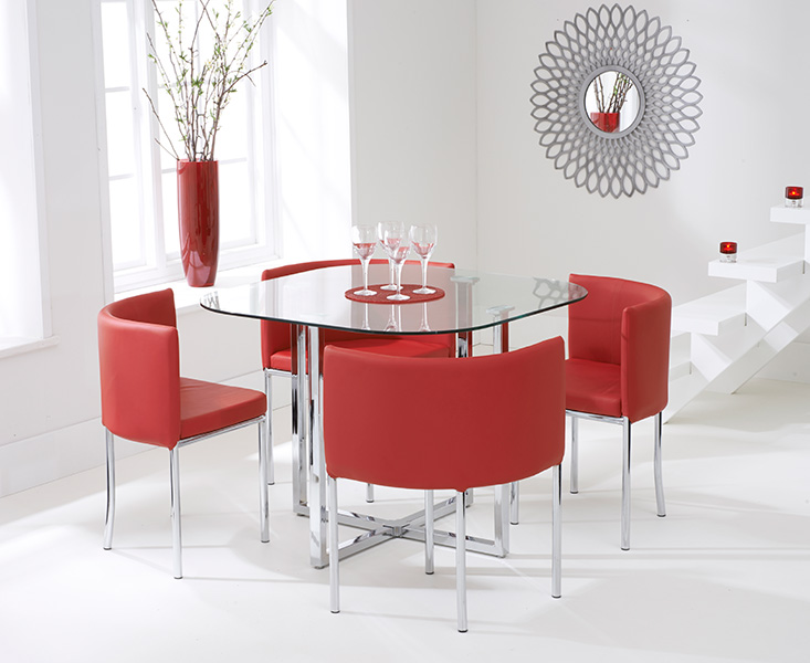Algarve Glass Stowaway Dining Table with Red High Back Chairs