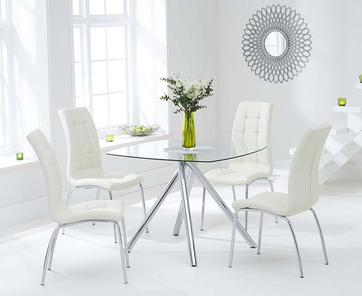 Elva 100cm Glass Dining Table with Cream Calgary Chairs