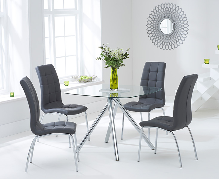 Elva 100cm Glass Dining Table With Calgary Chairs Octer