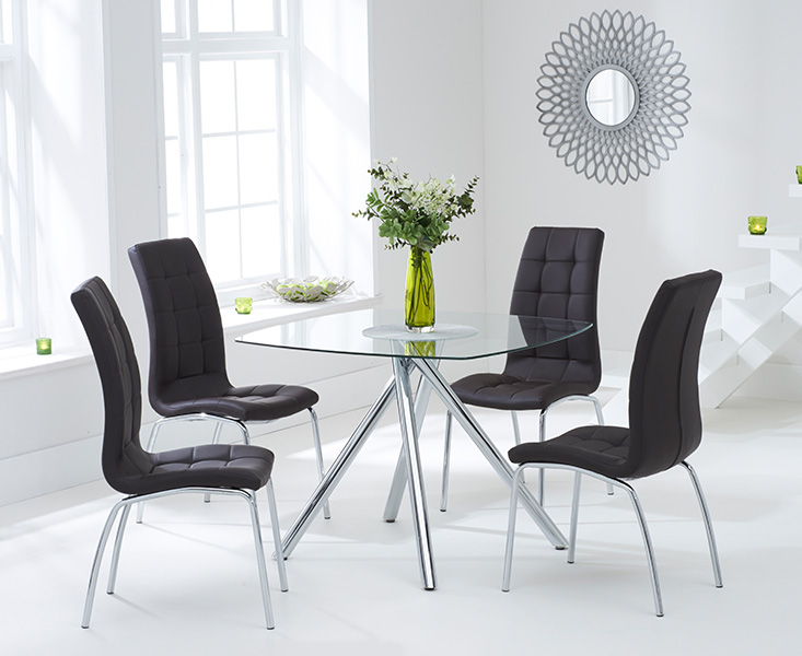 Elva 100cm Glass Dining Table with Brown Calgary Chairs