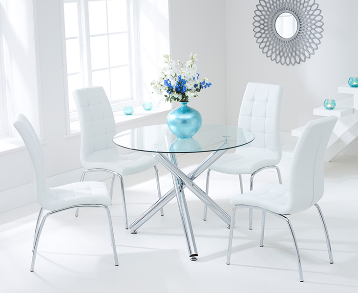 Orino 100cm Glass Dining Table with Ivory White Calgary Chairs