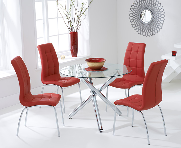 Orino 100cm Glass Dining Table with Red Calgary Chairs