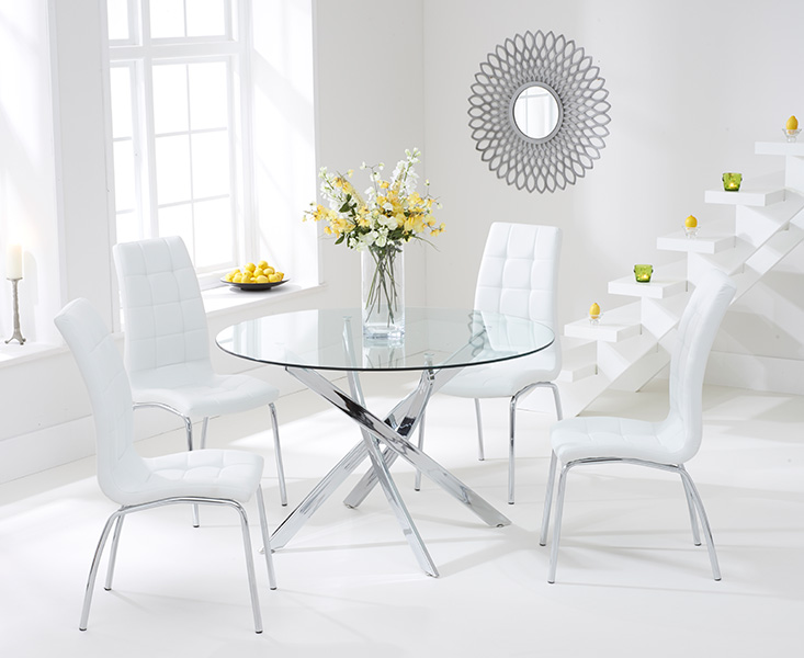 Denver 110cm Glass Dining Table with Calgary Chairs
