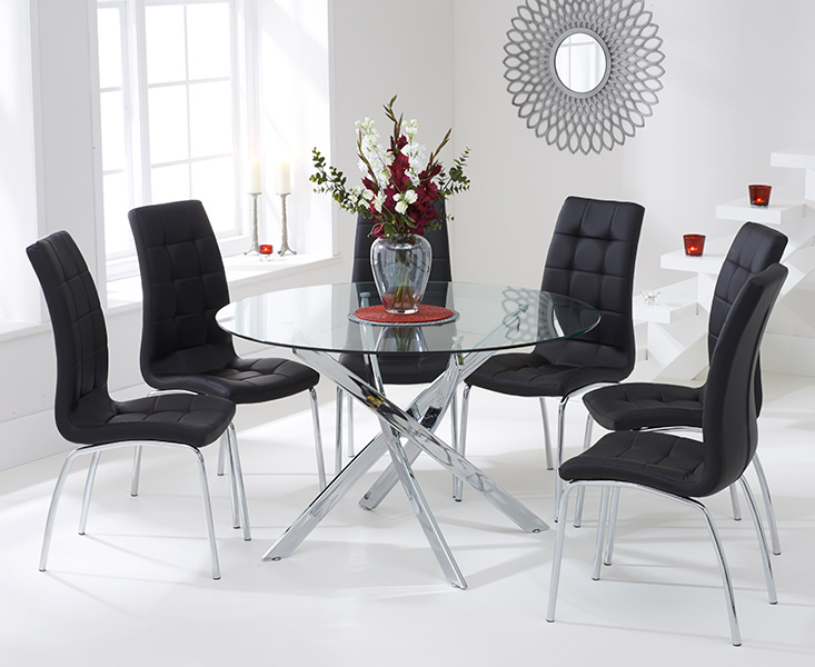Denver 120cm Glass Dining Table with Calgary Chairs