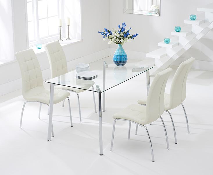 Malia 130cm Glass Dining Table with Cream Calgary Chairs