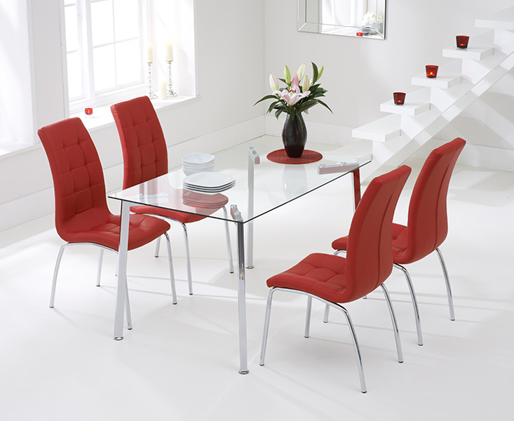 Malia 130cm Glass Dining Table with Red Calgary Chairs