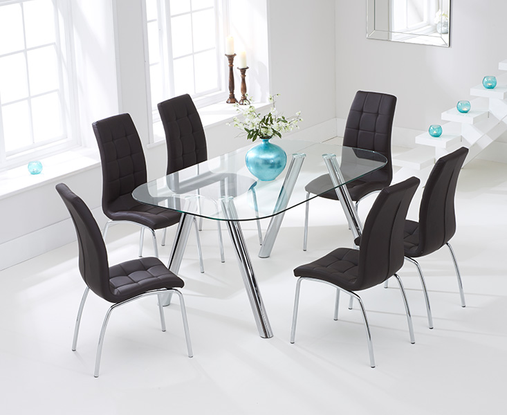 Piazzo 160cm Glass Dining Table with Calgary Chairs