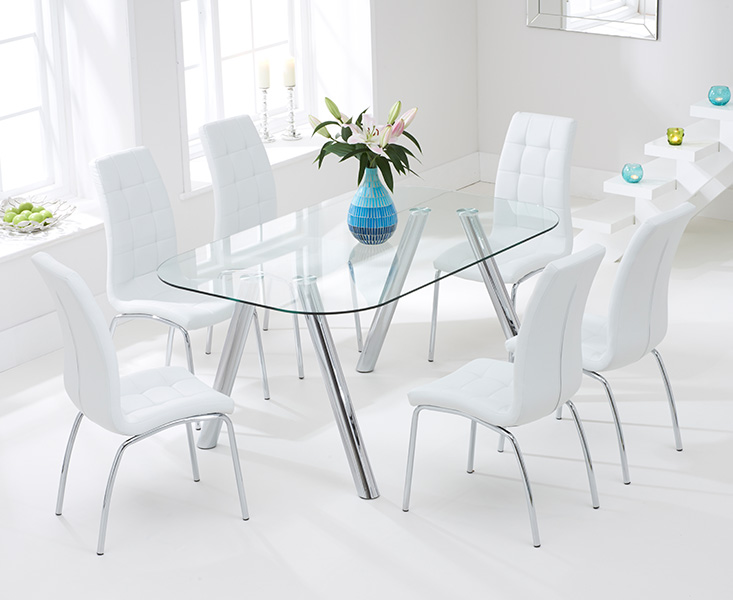 Piazzo 160cm Glass Dining Table with Ivory White Calgary Chairs
