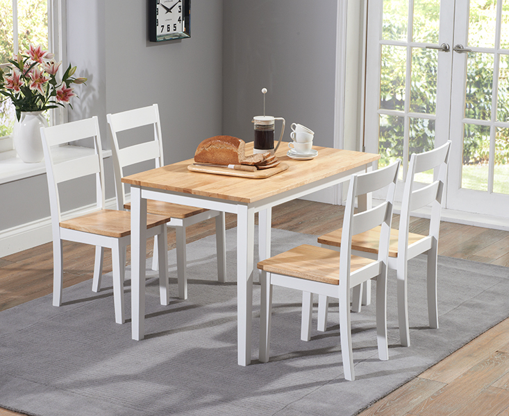 Chiltern 115cm Oak and White Dining Table Set with Chairs