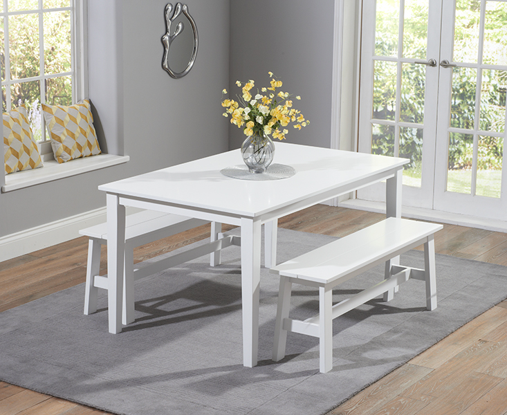 Chiltern 150cm White Dining Table Set with Benches