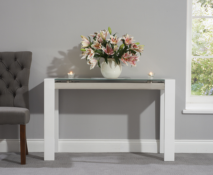 Photo of Cannes white high gloss console table