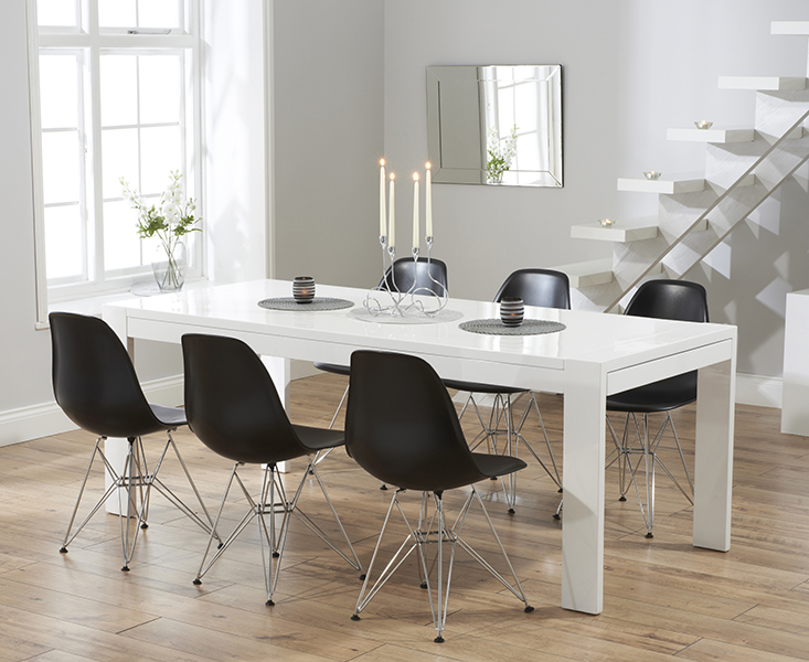 Venice 200cm white high gloss extending dining table with charles eames style dsr eiffel chairs - Decoratie opgeschort wc ...