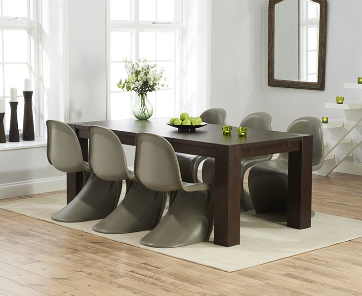 Madrid 200cm Dark Solid Oak Dining Table with 8 Verner Panton Style S Chairs