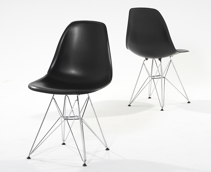 Photo of Metal leg plastic black chairs