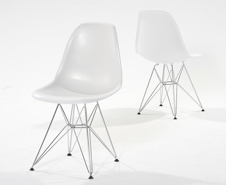 Photo of Metal leg plastic white chairs