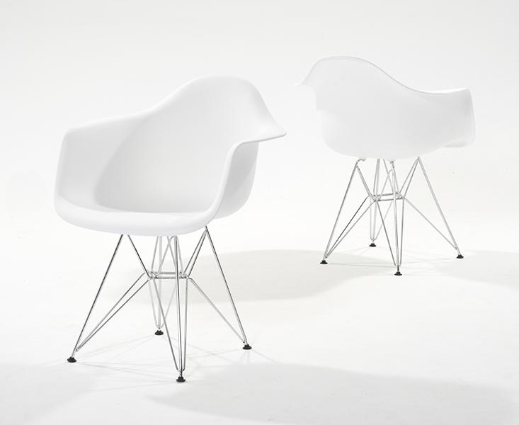 Photo of Metal leg plastic white tub chairs