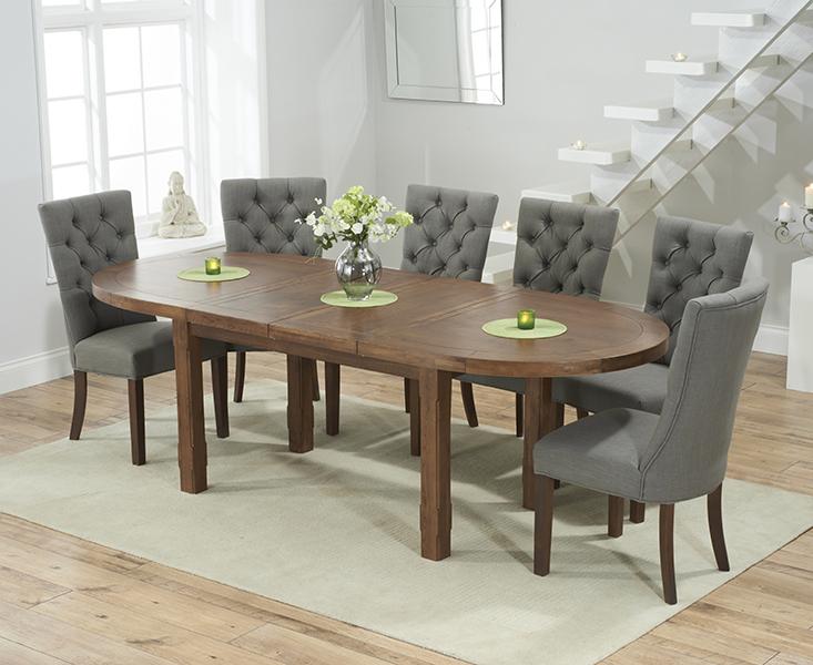Chelsea Dark Oak Extending Dining Table with 8 Anais Fabric Dark Oak Leg Chairs
