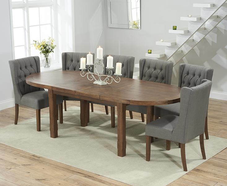 Chelsea Dark Oak Extending Dining Table with 8 Safia Fabric Dark Oak Leg Chairs