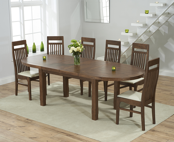 Chelsea Dark Oak Extending Dining Table with 8 Monaco Chairs