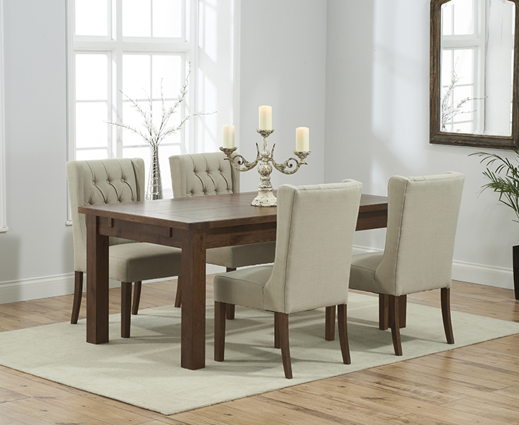 Rustique 150cm Dark Solid Oak Extending Dining Table with 8 Safia Fabric Dark Oak Leg Chairs