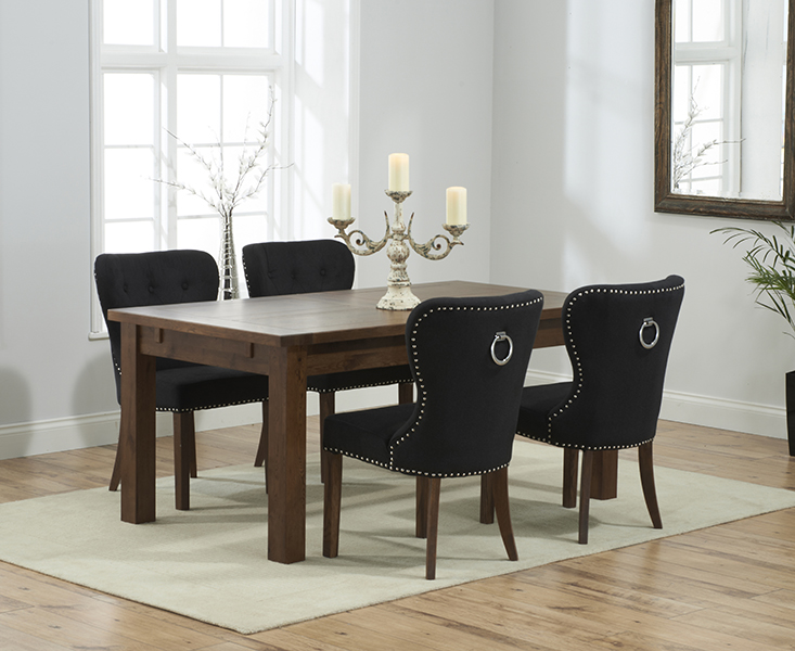 Rustique 150cm Dark Solid Oak Extending Dining Table with Knightsbridge Fabric Dark Oak Leg Chairs