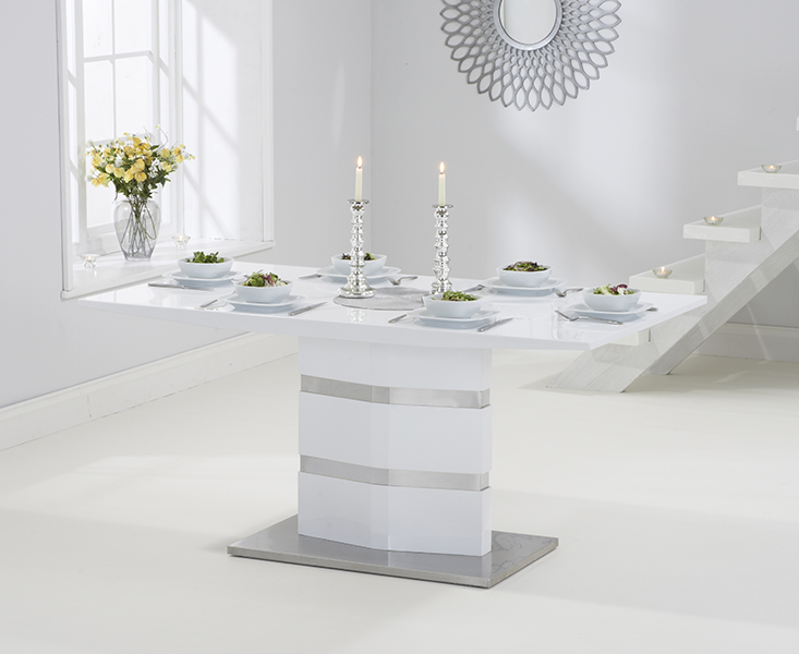 Serena 160cm White High Gloss Dining Table