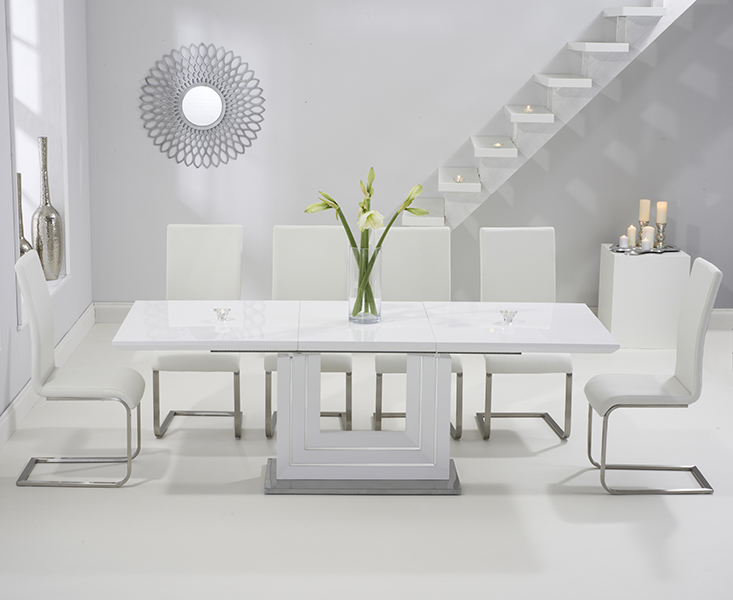 Tula 160cm White High Gloss Extending Dining Table with IvoryWhite Malaga Chairs