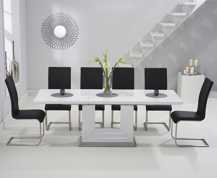Tula 160cm White High Gloss Extending Dining Table with Black Malaga Chairs