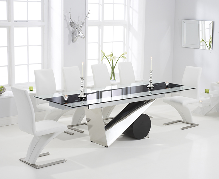 Pretoria 170cm Extending Black Glass Dining Table with IvoryWhite Hampstead Z Chairs