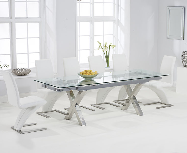 Celeste 160cm Extending Glass Dining Table with Hampstead Z Chairs