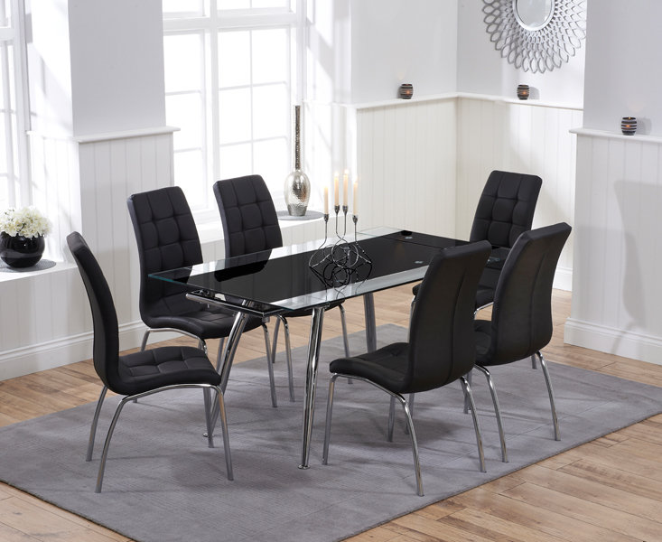 Ritz Black Extending Glass Dining Table with Calgary Chairs