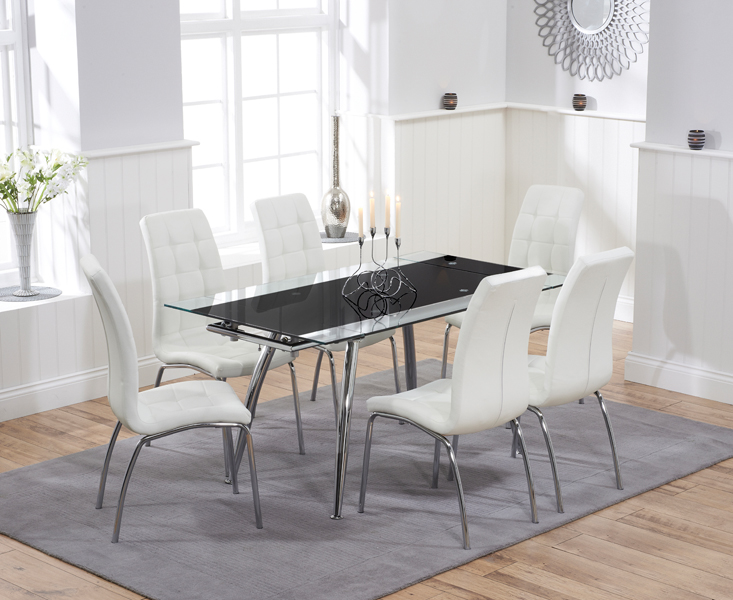 Ritz Black Extending Glass Dining Table with IvoryWhite Calgary Chairs
