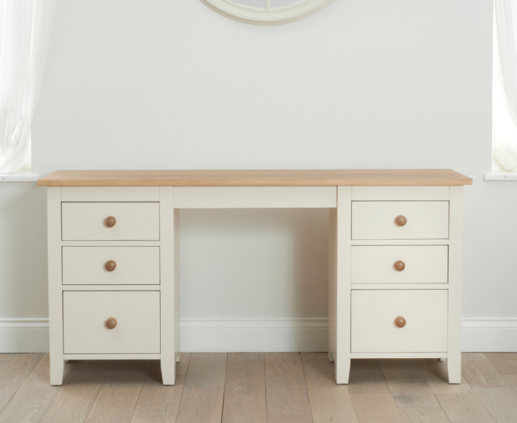 Camden Ash and Cream Double Pedestal Dressing Table
