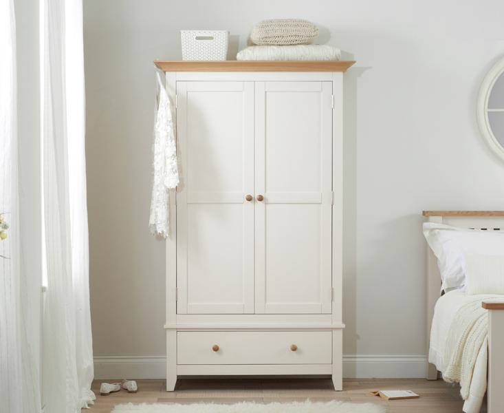 Camden Ash and Cream 2 Door 1 Drawer Wardrobe